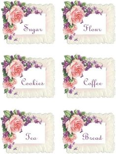 roses for the kitchen tags/labels Decoupage Vintage, Decoupage Paper, Vintage Paper, Vintage Tags, Vintage Labels, Vintage Prints, Vintage Floral, Etiquette Vintage, Diy And Crafts