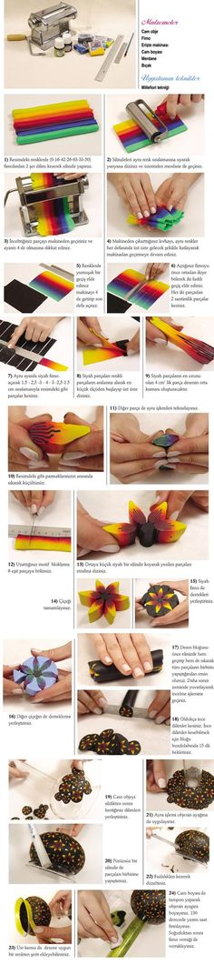 Polymer clay photo tutorials How to make a flower cane. Photo tutorial, cane for beginners, yellow flower cane, skinner blend Polymer Clay Canes, Fimo Clay, Polymer Clay Projects, Polymer Clay Creations, Polymer Clay Jewelry, Clay Earrings, Decors Pate A Sucre, Crea Fimo, Clay Design