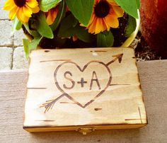 Custom Rustic Wood Ring Box For Wedding Ceremony /ring Bearer