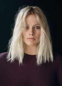 bleach blonde, long-bob (lob) haircut