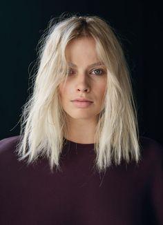 Bleach blonde, long-bob (lob) haircut // #Hair #Beauty