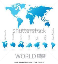 Africa. Antarctica. Asia. Australia. Europe. North america. South america. World Map vector Illustration.