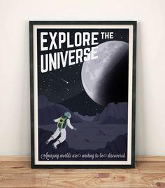 Cartel Vintage Universo, Viaje, Astronauta, Poster, Travel Poster Vintage, Decoracion, Lamina, Antiguo, Cuadros, Impresiones de GraphicHomeDesign en Etsy https://www.etsy.com/es/listing/295235603/cartel-vintage-universo-viaje-astronauta