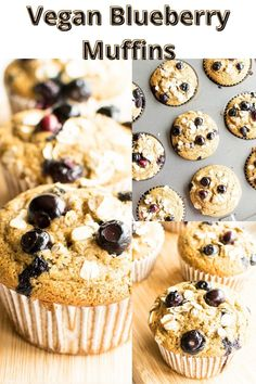 These Oil Free Vegan Blueberry Muffins are soft, fluffy and a delightful treat! It's made with the combination of whole grain oat flour and flaxmeal making it absolutely nut free. Vegan Bread, Vegan Pizza, Vegan Cake, Vegan Junk Food, Vegan Comfort Food, Vegan Blueberry Muffins, Blue Berry Muffins, Healthy Desserts, Dessert Recipes