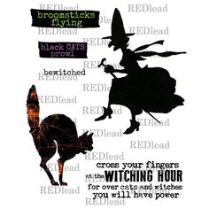Halloween Rubber Stamps - The Witching Hour - 6 cling mount stamps