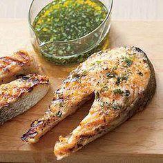 Tarragon-Marinated Salmon Steaks -- whole salmon makes for a great presentation