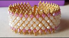 PULSERA CAPRICHO DE DIOSA - netted bracelet with embellishment ~ Seed Bead Tutorials