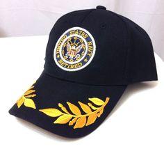 RETIRED UNITED STATES NAVY HAT Black/Yellow Olive Branch US Military USA Men/Wom #BaseballCap