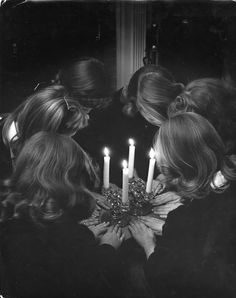 """six high school girls re-enacting solemn, secret initiation ritual by candlelight for photographer because only a real member has ever seen the real thing."" taken by Nina Leen, Life Magazine 1944 Wiccan, Magick, Witchcraft, Pagan, Coven, Ansel Adams, La Danse Macabre, Bikini Body Guide, Edward Weston"