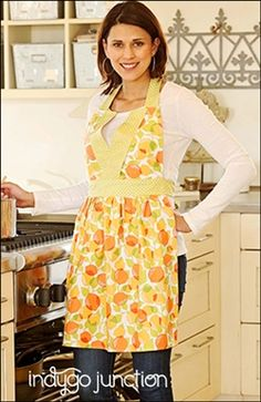 Indygo Junction's The Betsy Apron (11.99) is a V-style halter apron that is feminine yet functional. The neck & waist ties allow for adjustable fit while the darts provide shape for bust. One size fits most (fits up to D cup). #epatter #digitalpattern #apron