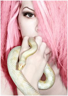 Why the snake? This picture would be better without the snake. A snake? Pastel Hair, Pink Hair, Pastel Pink, Pink Love, Pretty In Pink, Everything Pink, My Favorite Color, Hair And Nails, Cool Hairstyles