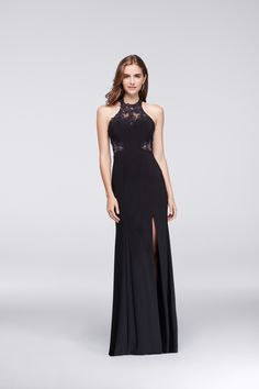 A sophisticated shape with beautiful embellishments, this stretch jersey gown is highlighted by beaded illusion details at the halter neckline and sides. | Black prom dress under $200