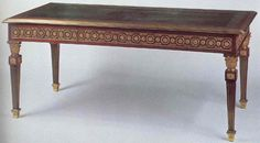 French neoclassical table with square tapered Louis XVI legs, die with rosette motif, golden elements, greek/roman inspired frieze.