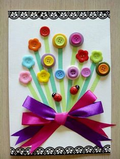 25 Handmade Birthday Card Ideas -Relaxwoman - DIY and crafts - 25 Handmade Birthday Card Ideas -Relaxwoman Awesome Handmade Birthday Card Ideas and Images. Kids Crafts, Preschool Crafts, Button Crafts For Kids, Handmade Birthday Cards, Greeting Cards Handmade, Flower Pot Crafts, Button Cards, Mothers Day Crafts, Creative Cards