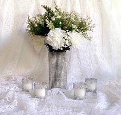wedding rhinestone cylinder vase and votive tea by PinKyJubb
