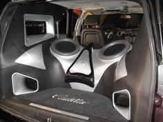 trunk car audio. escalade JL Audio. full build out in the rear 13W7s 1000/1 amps