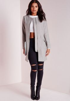 Collarless Zip Detail Wool Jacket Light Grey