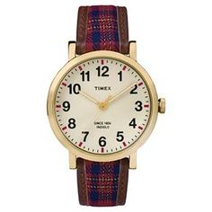 Women's Timex Originals Watch  with Plaid Strap - Gold/Red