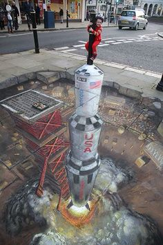 Apollo Moon Rocket Street Art