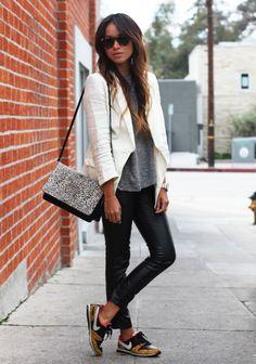 Moda Looks Pantalones Mujer Zapatillas Cuero Blazer 30 Blanca Ellespain Con De 010zwd