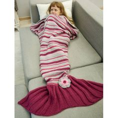 SHARE & Get it FREE | Knitted Stripe Floral Decorative Bed Sofa Mermaid BlanketFor Fashion Lovers only:80,000+ Items·FREE SHIPPING Join Dresslily: Get YOUR $50 NOW!