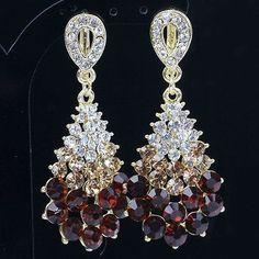 Elegant Bridal Style use BROWN Swarovski Crystals Dangle Earrings