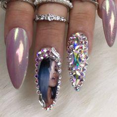 Cardi B Diamond Set Press on Nails Fake Nails Any Shape Purple Nails, Bling Nails, Swag Nails, Rhinestone Nails, Bling Bling, Nail Art Designs, Toe Designs, Nails Design, Nail Art Inspiration