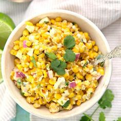 Skinny Mexican Street Corn, made with greek yogurt! This is SO DELICIOUS! Works great as a dip or as a side dish! Don't tell anyone.  But it's SO addicting.