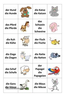 Tiere-Memospiel - New Ideas German Grammar, German Words, Spanish Lessons, Teaching Spanish, Spanish Activities, French Lessons, Teaching French, German Resources, Deutsch Language
