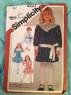 0e9e40b728d1 Items similar to Girl s Dropped Waist Party Dress Simplicity 6227 Uncut Size  3 Vintage Wedding Flower Girl