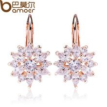 Luxury Gold Color Flower Stud Earrings for Women.