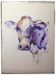 "Purple cow ""milkyway"" watercolour painting by jane davies Watercolor Paintings Of Animals, Cow Painting, Animal Paintings, Watercolour Painting, Painting & Drawing, Watercolours, Purple Painting, Cow Tattoo, Cow Pictures"