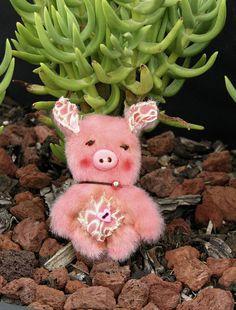Handmade Mini 2 inch Teddy Bear Piglet by Woollybuttbears - perfect pet for Blythe doll