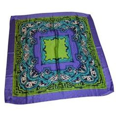 Vera Huge Bold Multi-Color Silk with Double-Layer Border Scarf