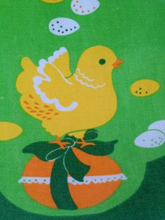 Pretty 60s vintage easter mid century tablerunner. Retro pattern with cute chickens. Made in Sweden. kr80.00, via Etsy.