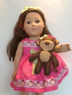 American Girl 18 inch Doll Dress Pink Print with by PeekabooPorch, $24.95