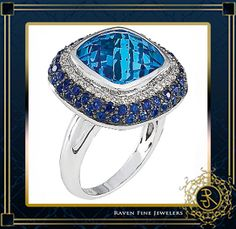 Flawless Custom Cut London Blue Topaz, Sapphire And Diamond Ring