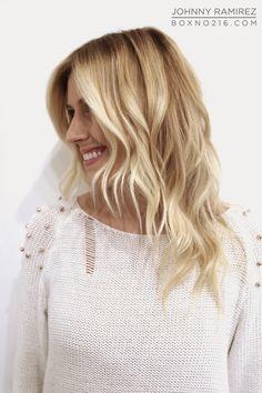 hair makeover, medium length, blonde, soft ombre