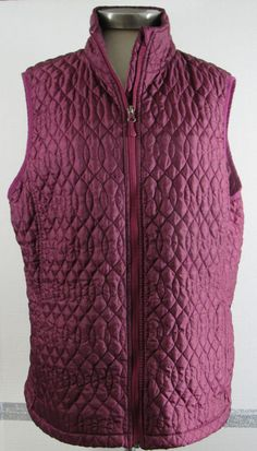 Lands End Vest XL 16 Burgundy Wine Quilted Light weight Zip Closure GRUC #LandsEnd #Quilted