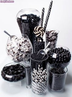 Rock Candy Chewy Nuggets - Black Cherry: Tub Rock Candy Chewy Nuggets – Black Cherry: Tub Love this black and white candy bar idea! Black White Parties, Black And White Theme, Black N White, All Black Party, Black And White Party Decorations, Color Black, White Decor, Black Art, Festa All Black
