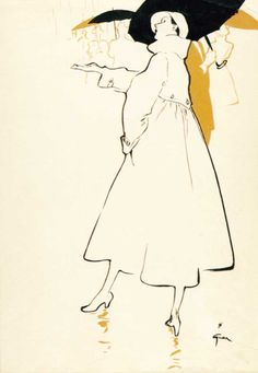 René Gruau illustration for the cover of International Textiles, 1949 Art And Illustration, Fashion Illustration Vintage, Fashion Illustrations, Design Illustrations, Arte Fashion, Fashion Design, Rene Gruau, Simple Line Drawings, Jacques Fath