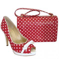 Polka Dot Purses for Sale | ... Womens › Bags › Benita red leather handbag with white polka dots