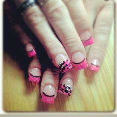 Pink nails with Skulls, stars and glitter