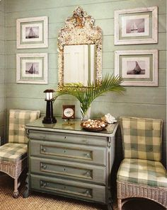 Love the sea foam green and antique white palette and the wall planking...