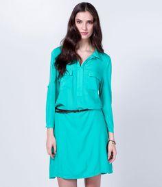 Vestido  feminino   Manga longa  Estilo camisa       http://www.lojasrenner.com.br/p/vestido-modelo-camisa-com-cinto-537876678-537876740