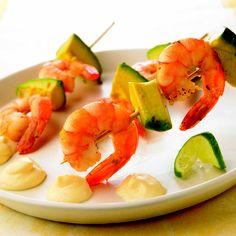 Brochetas de aguacate y camarón... ¡Delicioso!