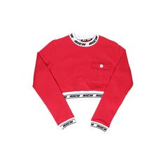 RICH BAND CROPPED CREW RED ($92) ❤ liked on Polyvore featuring crop top