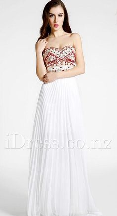 Multi-colored Beaded Strapless White Floor Length Chiffon A-line Evening Dress