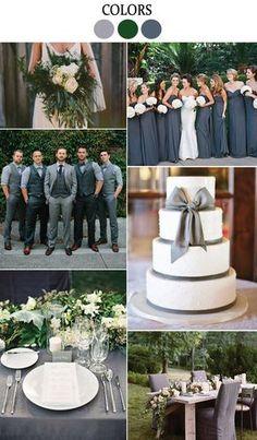 grey and green wedding inspiration from Lucky in Love Wedding Blog #weddingcolors #greywedding #greenwedding #weddingplanning