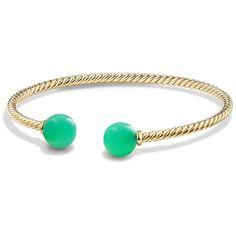 David Yurman Women's Solari Chrysoprase & 18K Gold Bead Bracelet -... ($995) ❤ liked on Polyvore featuring jewelry, bracelets, apparel & accessories, chrysoprase, 18k bangle, cuff bangle, david yurman jewellery, chrysoprase jewelry and david yurman jewelry